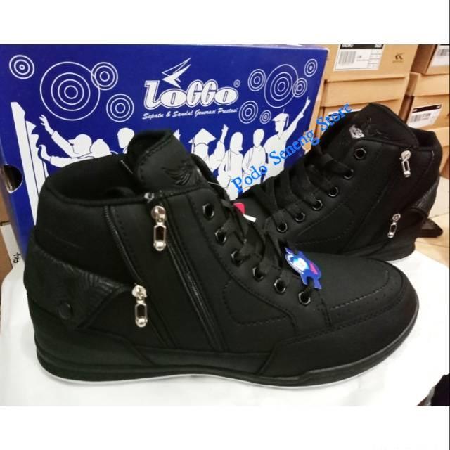 Jual Sepatu Sekolah Merk Loggo Resleting Model Boots Jakarta