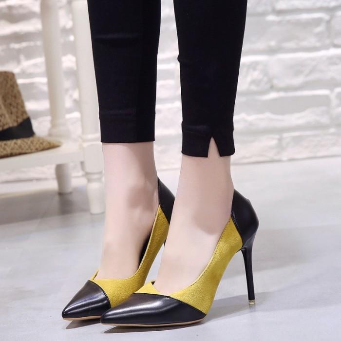 Sepatu High Heels OL Pointed Toe Profesional Warna Hitam untuk Wanita