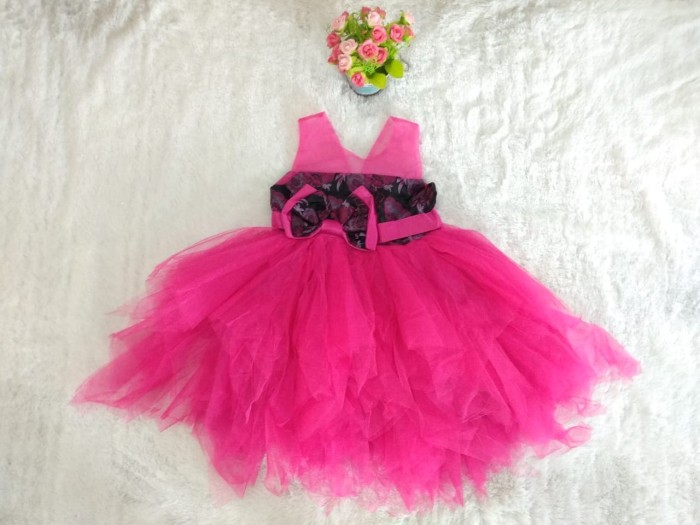 Jual Gaun Pesta Anak Warna Pink Fanta Motif Bunga Zazokids Batam