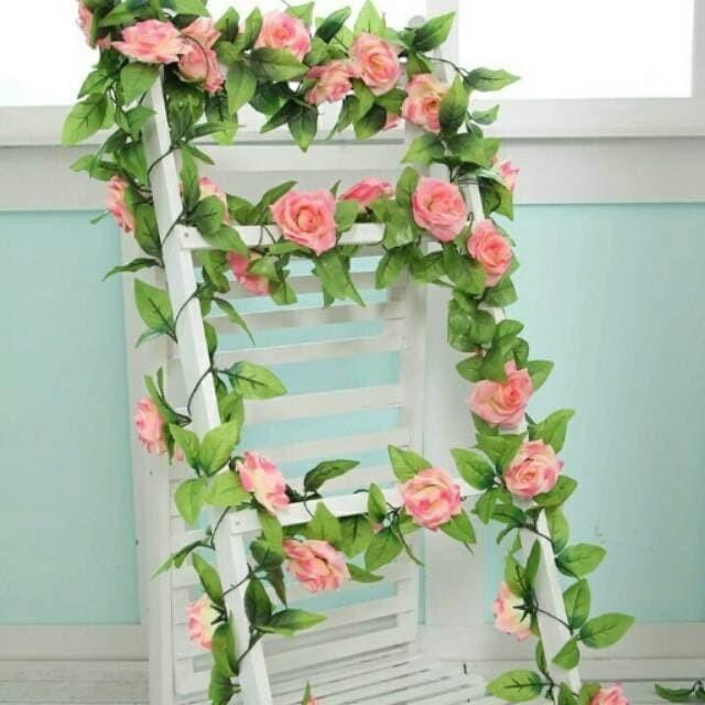 Bunga Mawar Rambat Peach Artificial - Tanaman Hias Dekorasi