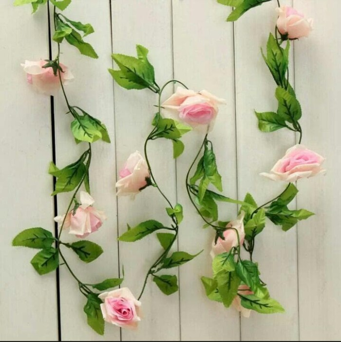 Bunga Mawar Rambat Pink Artificial - Tanaman Hias Dekorasi