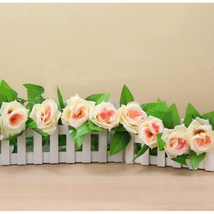 Bunga Mawar Rambat Cream Artificial - Tanaman Hias Dekorasi