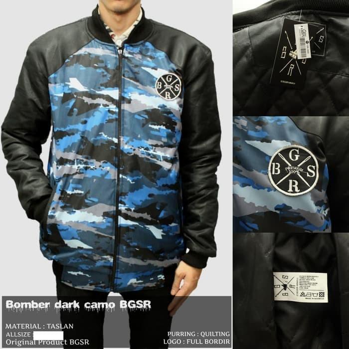 Jaket Bomber Pria BGSR Loreng Dark Camo Blue Sea/ Jaket Fashion Casual
