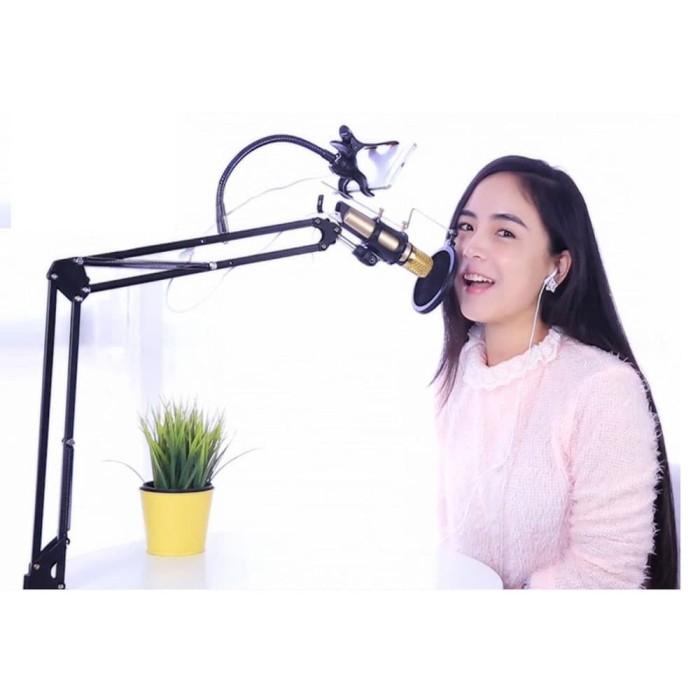 harga Condenser microphone bm800 + stand holder 360 lazypod + splitter Tokopedia.com