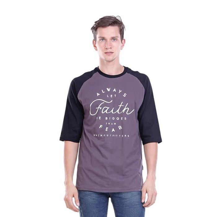 Kaos Tshirt Raglan Pria Abu Faith H 0008 HRCN OUTFITTER