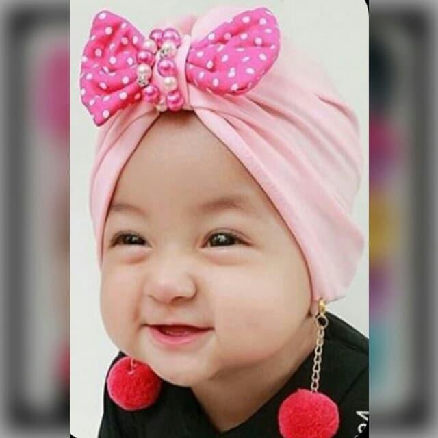 Jual Turban Bayi Lucu Turban Baby Pita Mutiara Anting Pompom