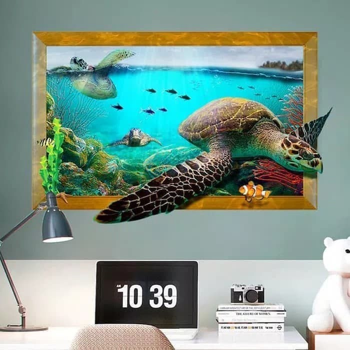 jual wall sticker 3d penyu laut wallsticker 3d sea stiker dinding 3d
