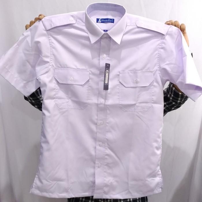 Foto Produk Kemeja Pilot Santa Ricci Pria Putih Pendek Kantong 2 Pangkat Oxford Uz - Putih, S dari Mega Hero Shirts