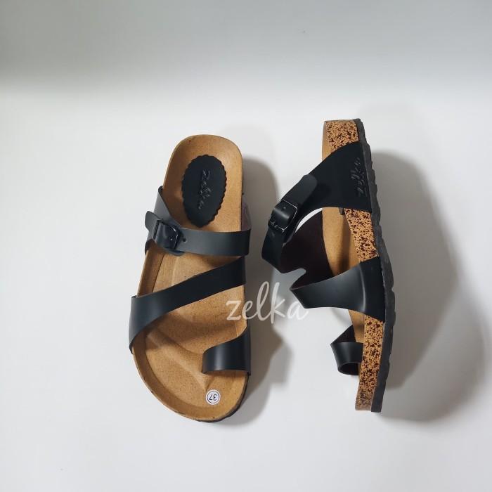 20cfdd2d9 sandal sendal zelka ala birkenstock havaianas jepit rumah wanita - Hitam, 37