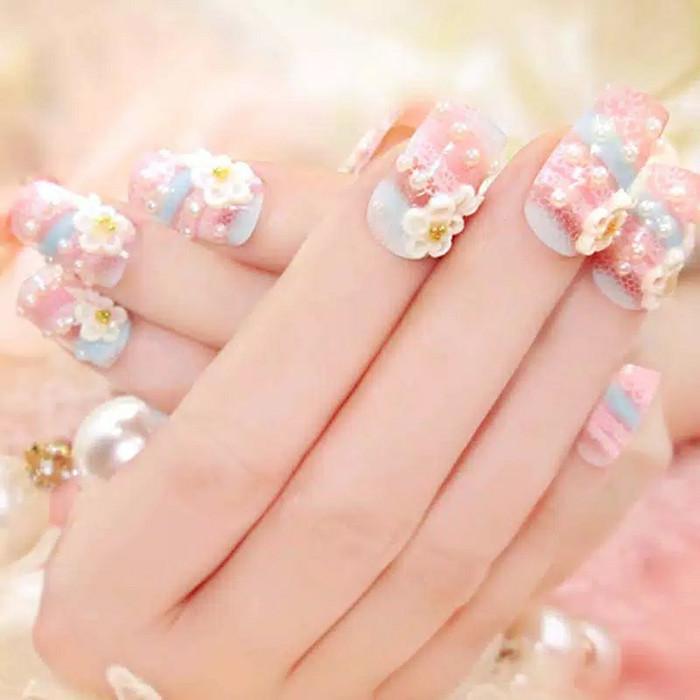 Model Kuku Nail Art: Jual Kuku 3d Kuku Palsu Kuku Wedding Fake Nails Nail Art