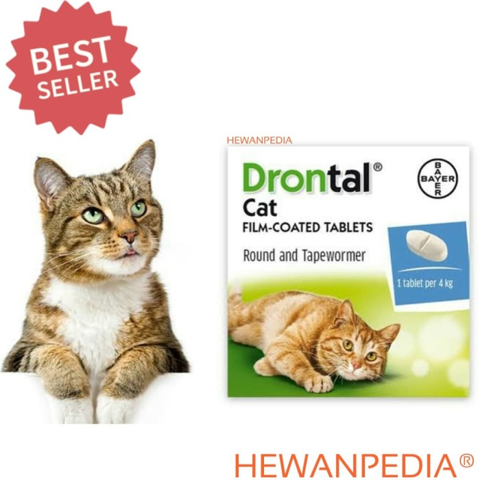 DRONTAL PLUS CAT 1 Tablet (BB 4 kg) - Obat Cacing Kucing PT Bayer