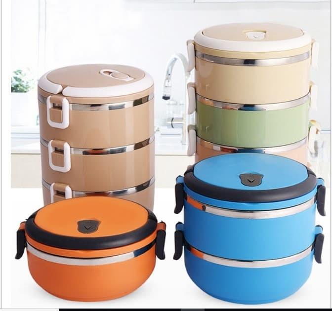 Rantang 3 Susun Stainless Steel Eco Lunch Box Glossy - HPD185 - Biru