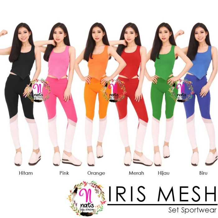 harga Setelan senam iris mesh baju olahraga wanita celana sport gym fitness Tokopedia.com
