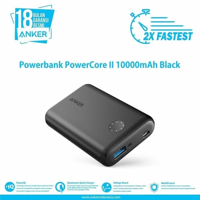 Anker quick charger 3.0 powerbank powercore ll 10000mah black-a1230