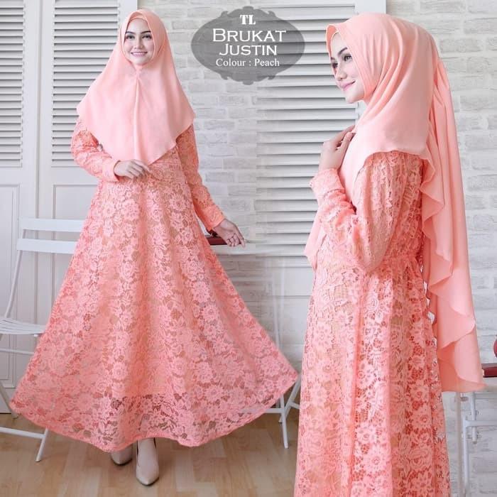 Jual Baju Gamis Wanita Terbaru Brukat Khimar Syari Hijab  Gaun Pesta ... 5b7b7e63d6