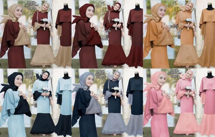 Jual Maxi Gamis Dress Pesta Hijab Balotelli Indahe Fit L Real
