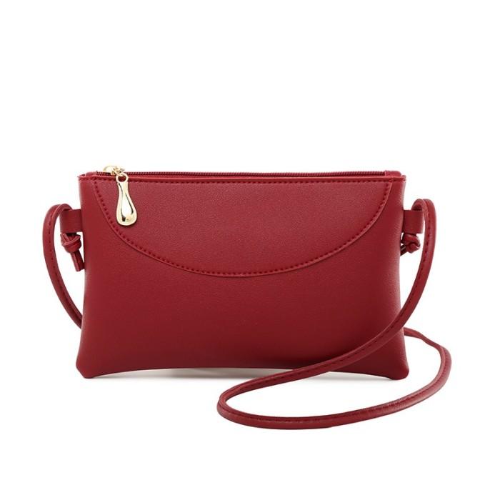 BR Tas Handbag / Selempang / Bahu Wanita Bahan Kulit PU Warna Polos