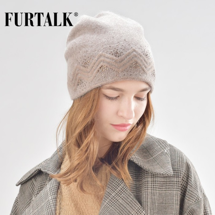 7dd71fadc21eb3 Jual New FURTALK winter wool women winter hat rabbit fur hats with ...