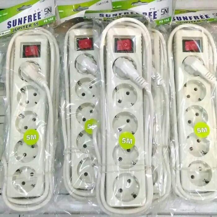 Colokan Listrik 5 Lubang +Kabel 5 Meter Swit /Stopkontak 5 Lubang Swit