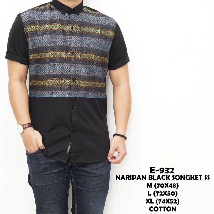 Kemeja Batik Lengan Pendek Pria Naripan Songket Hitam - Navy - Putih - Navy, M