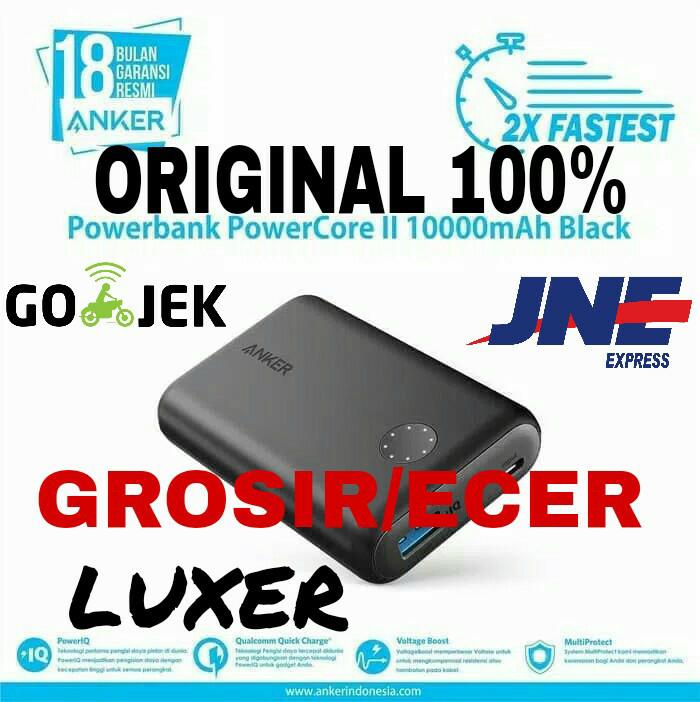 Powerbank anker powercore ii 10000mah fast quick charge hitam