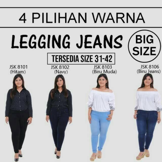 Celana Legging Pinggang Karet Jeans Big Size Jumbo Wanita JSK