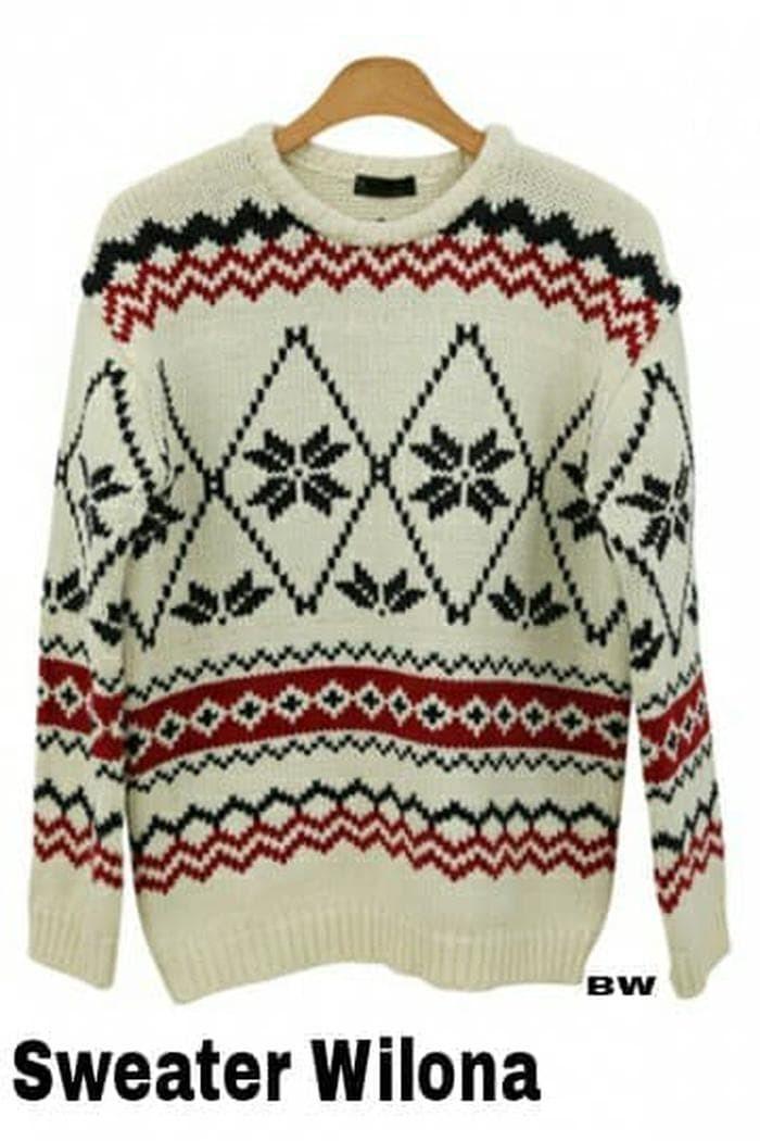 Paling Murah [Sweater wilona RO] sweater wanita rajut putih hitam