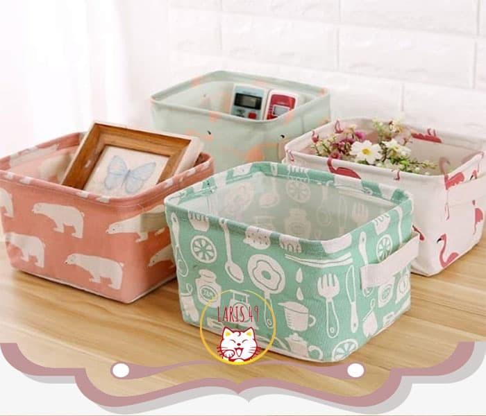 Foto Produk Dekstop Storage Keranjang Multifungsi Box Organizer Serbaguna Motif - PINK BERUANG dari Laris49