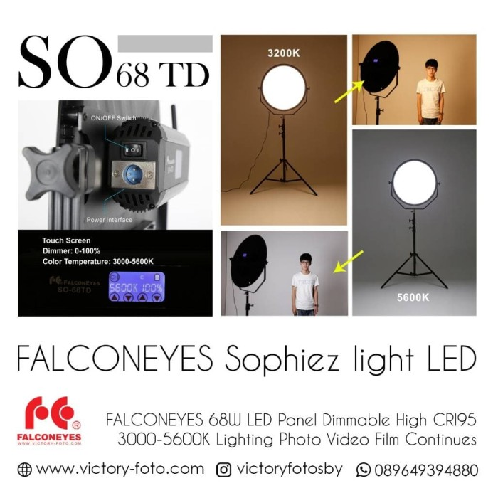 Jual sophiez LED so-68 TD, led falconeyes sophiez 68 td, lighting led -  Kota Surabaya - Victory Photo Equipment | Tokopedia