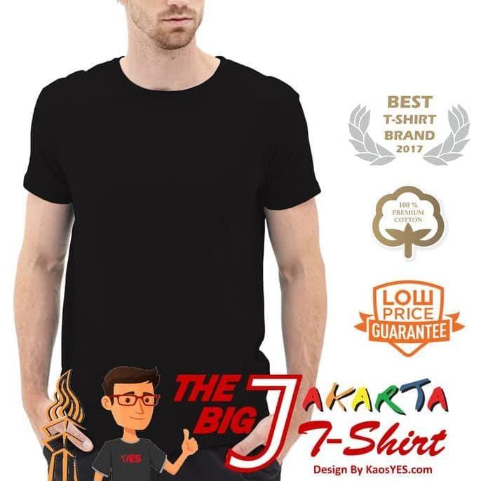 New Kaosyes Kaos Polos T-Shirt O-Neck Lengan Pendek - Hitam, S