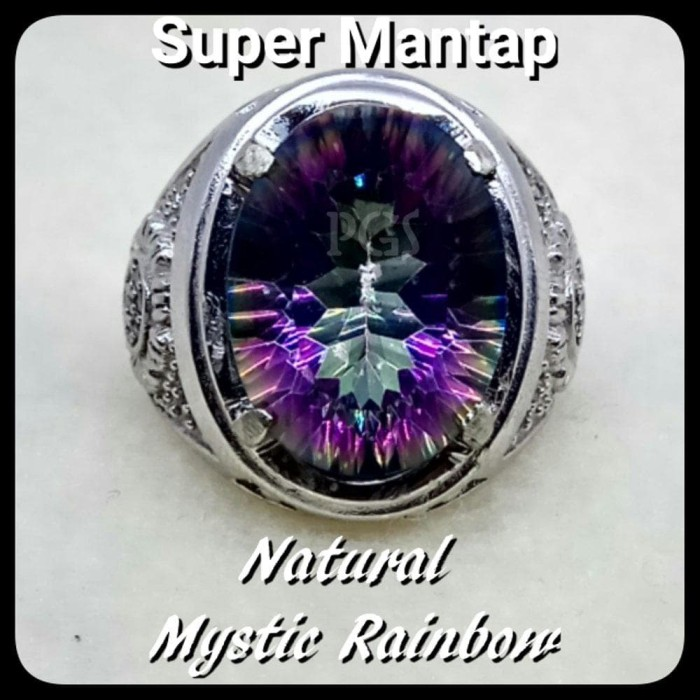 harga Cincin batu akik permata natural mystic rainbow quartz ring alpaka Tokopedia.com