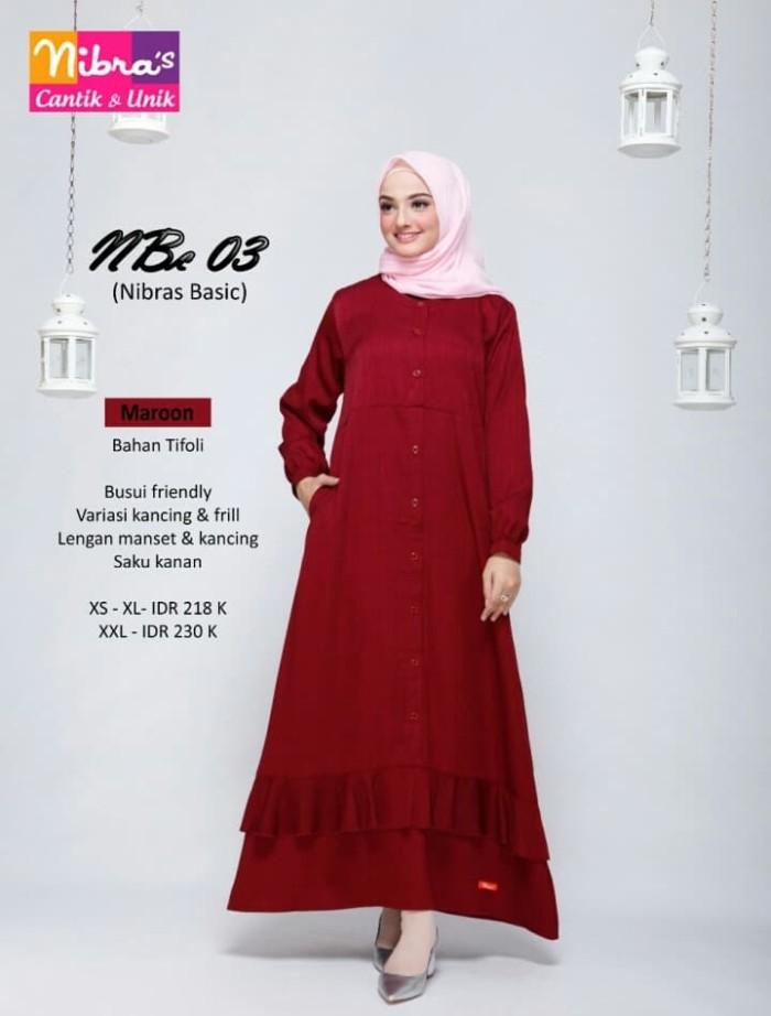Jual Gamis Polos Nibras Nbc 03 Warna Merah Marun Bahan Katun Tifoly