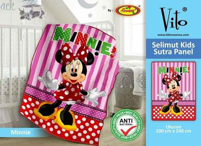 Selimut Vito Kids Sutra Panel 100x140 Motif Minie