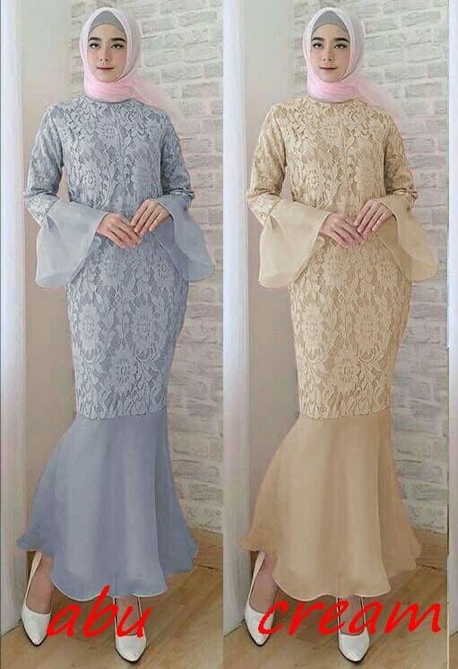 Jual Maxi Gamis Dress Pesta Hijab Brukat Organdi Duyung 3 Fit L