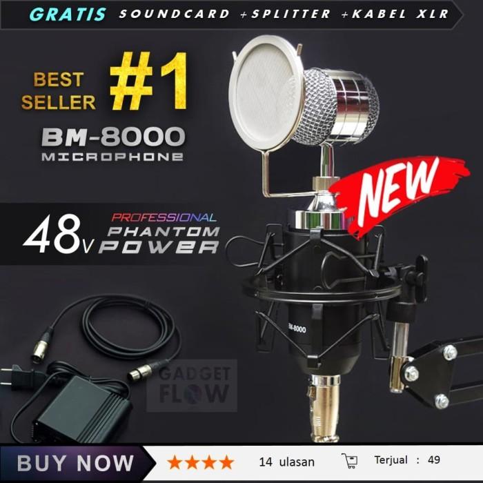 harga (paket komplit) mic microphone bm8000 + phantom power home recording Tokopedia.com