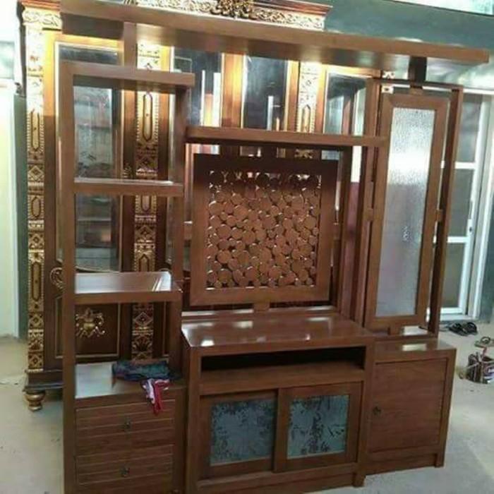 Jual Sekat Ruang Tamu Minimalis Modern Lemari Tv Jati Tpk M47 Kab Jepara Mirna Gallery Tokopedia