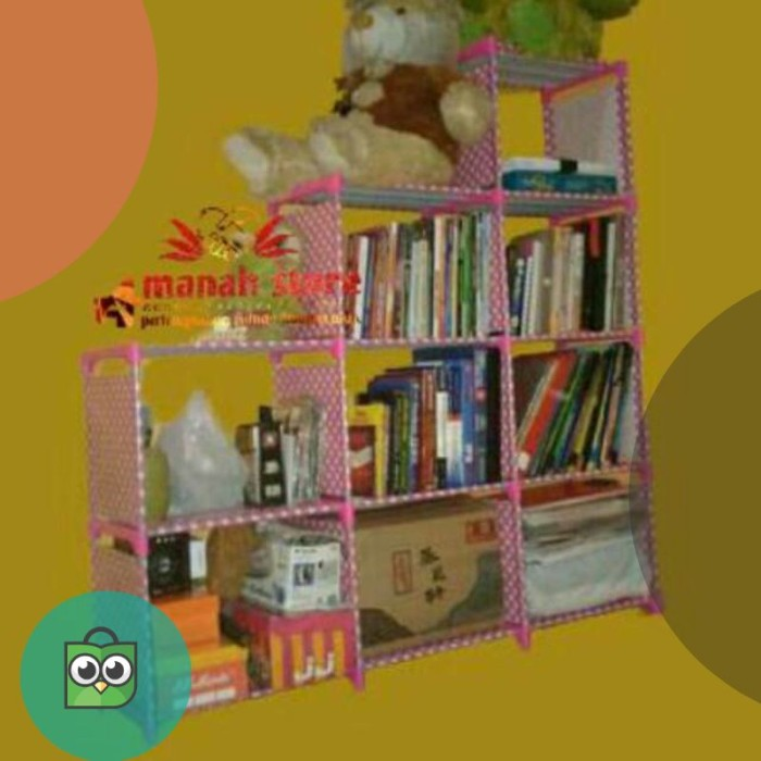 Rak buku lemari buku 3 sisi susun tangga rak serbaguna portable rak