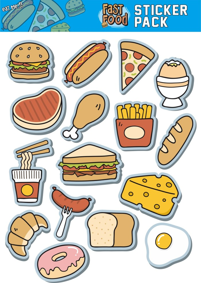 Jual Sticker Pack Foods Animasi Free Custom Fast Food Kab