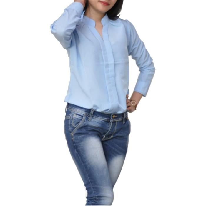 Blouse Wanita Model Korea Lengan Panjang Kerah V - LNZ Vanessa - Putih