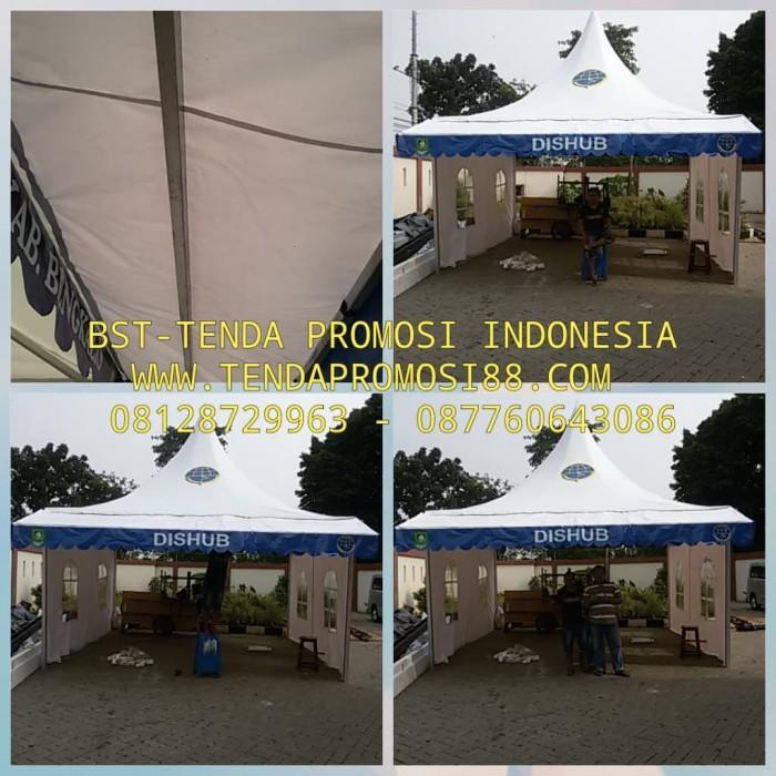 Foto Produk Jual Tenda Sarnafile 5x5 Standard dan Custom Promosi - Putih dari Berkah Media Promosi
