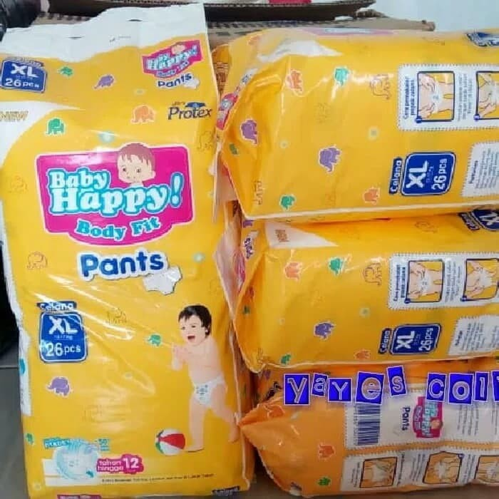 Home; Baby happy XL 26 popok celana body fit pants pampers berkualitas
