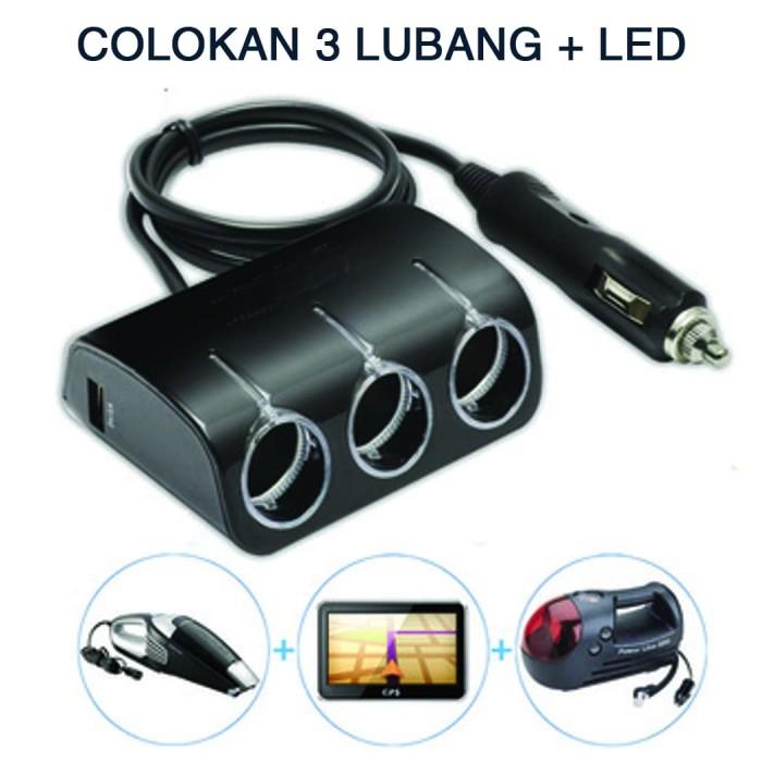 Foto Produk Colokan LIGHTER Mobil 3 LUBANG usb charger TRIPLE SOCKET CIGGARATE LED - Hitam dari Price Priority