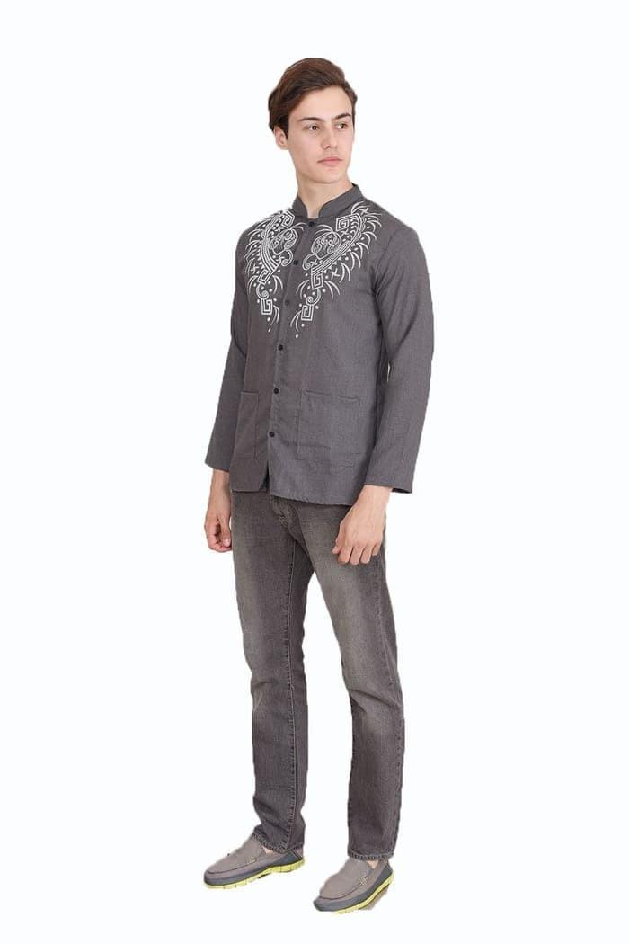 Baju Koko Baju Muslim Pria tangan panjang Printing Yusuf Print GROSIR - Biru 01cd7ad793