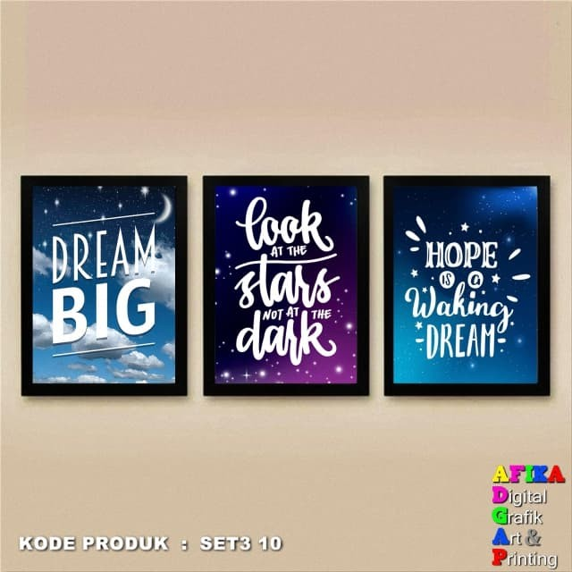 Hiasan dinding Wall art Poster Frame 1Set 3pcs Light Dreams