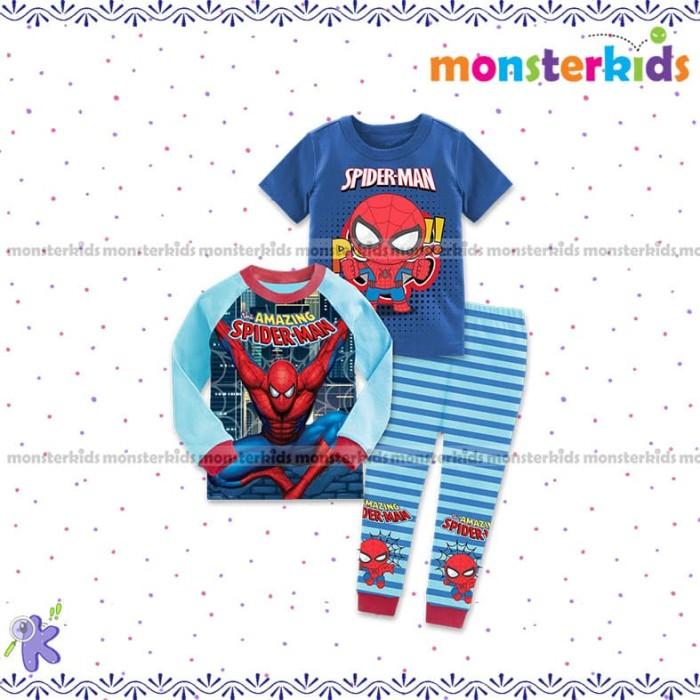 Setelan baju tidur anak laki-laki piyama spiderman monster kids MK 6-K -  4-5 tahun a6a0d49897