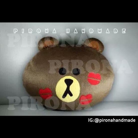 Bantal boneka handmade karakter brown line with kiss mark e0705590b4