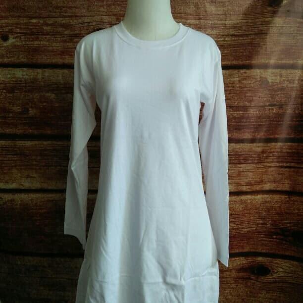 Jual Kaos Polos Wanita Muslim Lengan Panjang Warna Putih Combed S M L Xxxl Kab Sleman Distro Kaos Tokopedia