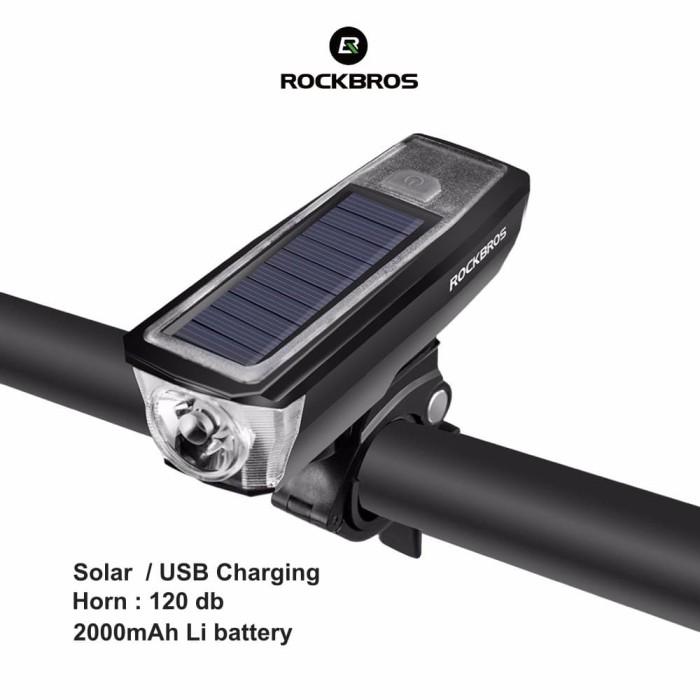 harga Rockbros hj-052 bicycle solar light+horn - lampu+klason sepeda - white Tokopedia.com