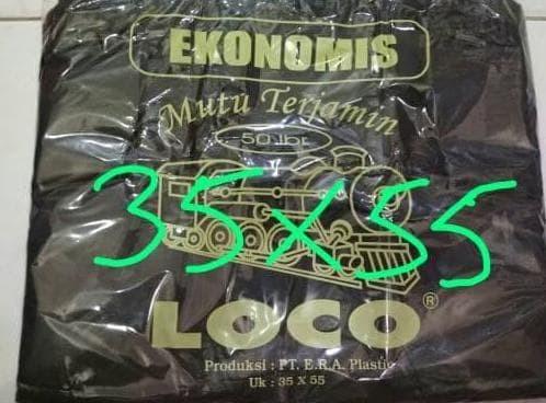 Eksklusif Kantong Plastik Kresek Loco Hitam Tipis Ekonomis 35 X 55