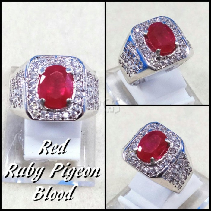 harga Cincin batu akik permata ruby red blood pigeon ring alpaka super mewah Tokopedia.com